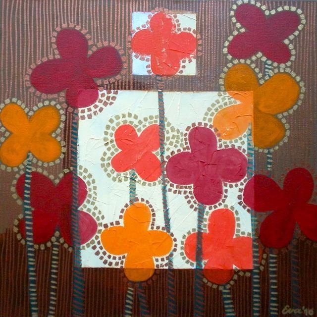 EVA ROUWENS - Fleurs - 50 x 50 cm