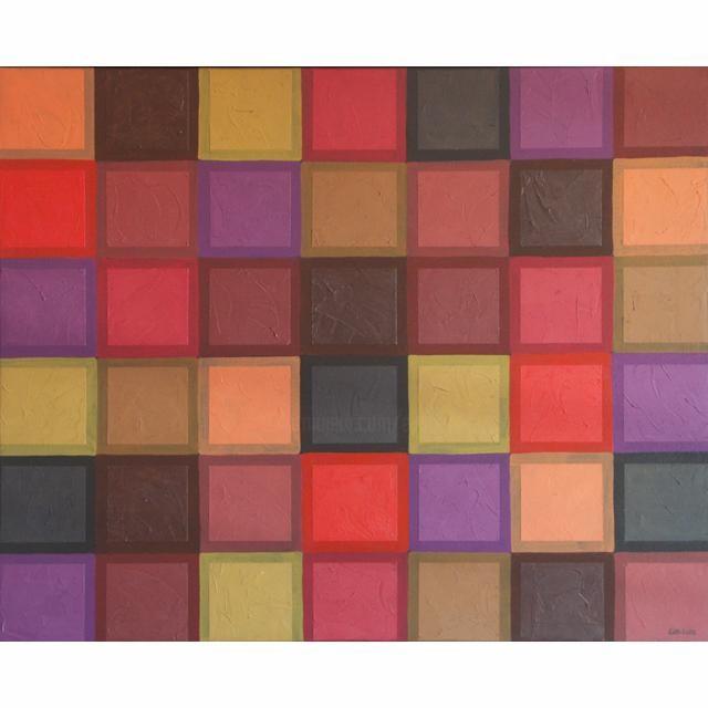 EVA ROUWENS - carreaux rouges et noirs - 87 x 106 cm
