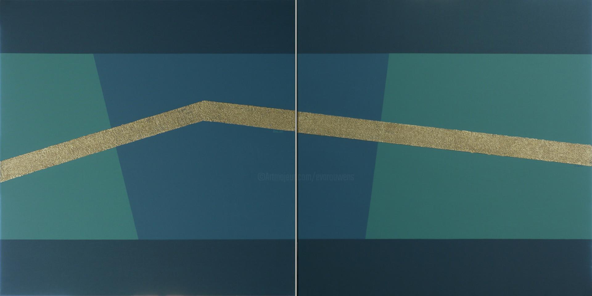 EVA ROUWENS - LA LIGNE BLEUE 1 & 2 - 160 x 80 cm