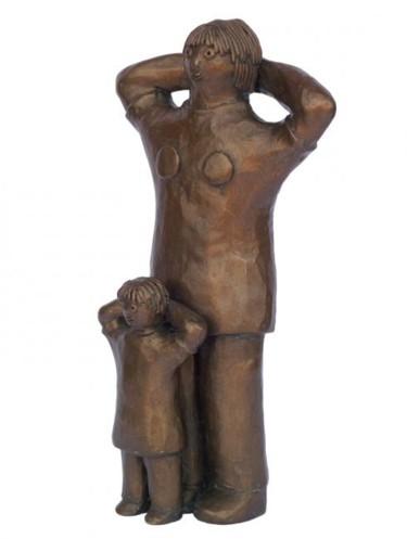 Maman et fille - bronze P.U. - 24 cm