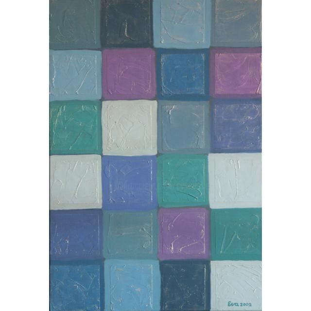 EVA ROUWENS - Carreaux bleus - 55 x 38 cm
