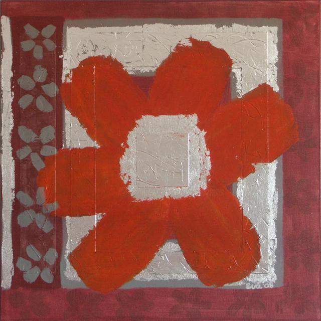 EVA ROUWENS - Fleur orange - 60 x 60 cm