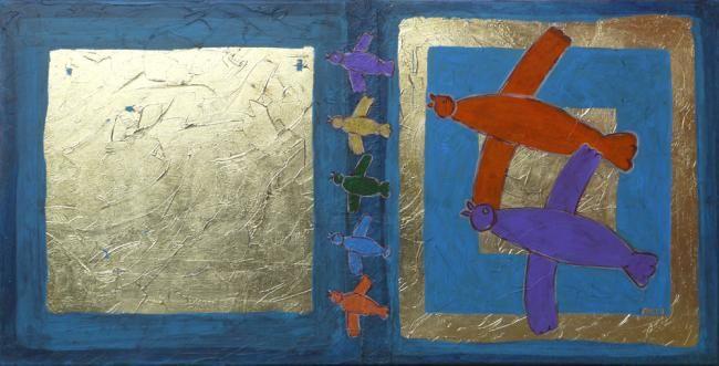 EVA ROUWENS - Les oiseaux - 50 x 100 cm