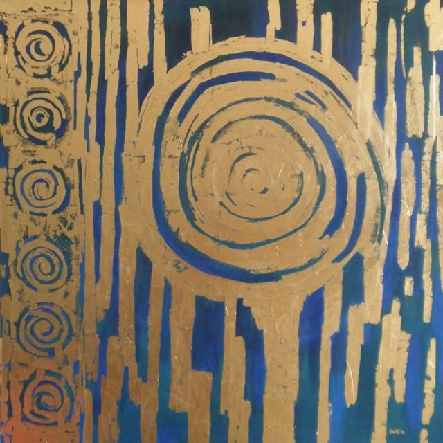 EVA ROUWENS - Grande fleur bleue - 120 x 120 cm