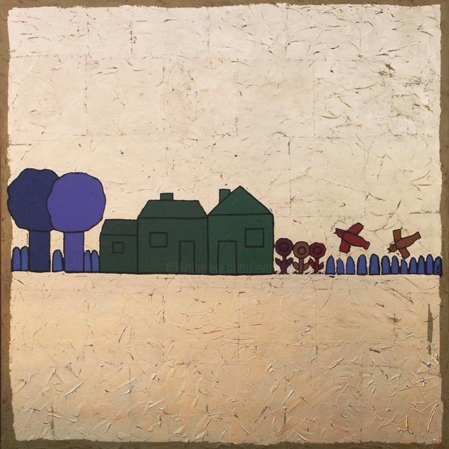 EVA ROUWENS - Trois maisons vertes - 80 x 80 cm