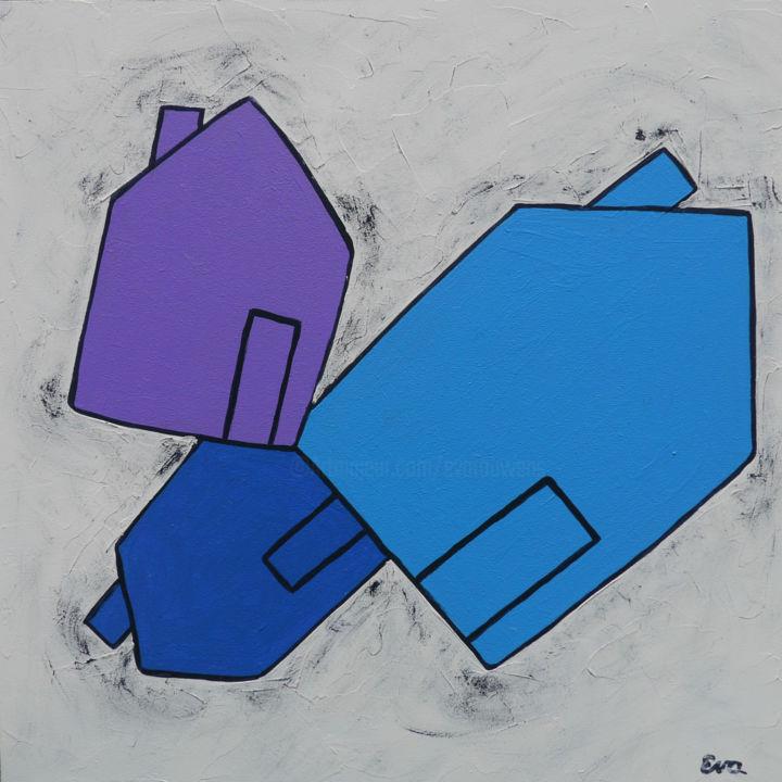 EVA ROUWENS - Trois maisons - 20 x 20 cm
