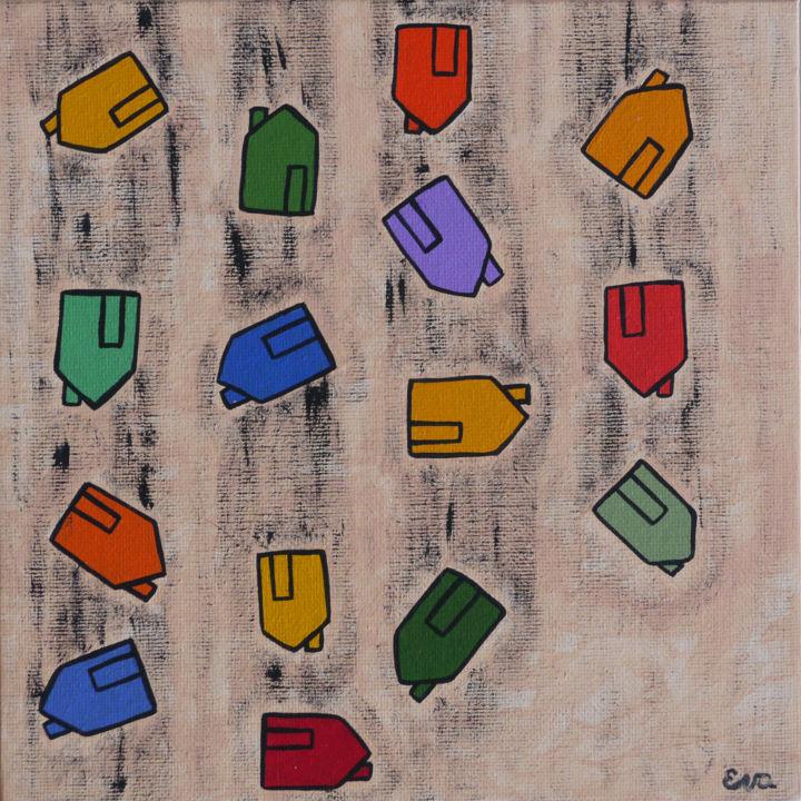 EVA ROUWENS - Pluie de maisons - 20 x 20 cm