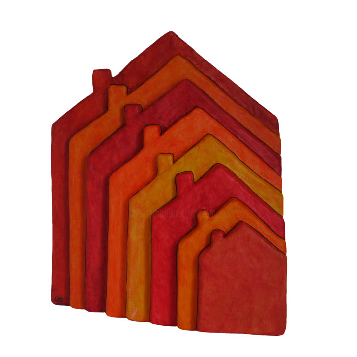 8 maisons rouges - résine - 46 cm