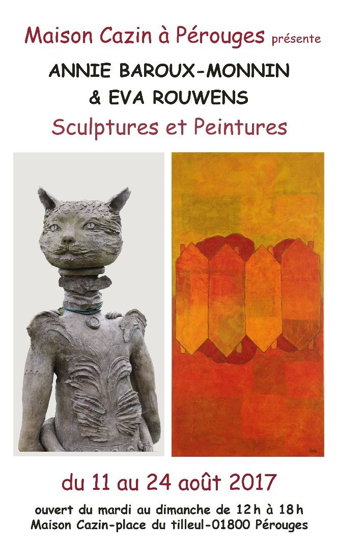 """affiche-avec-chat.jpg Exposition de sculptures et peintures """"Maison Cazin à Pérouges"""