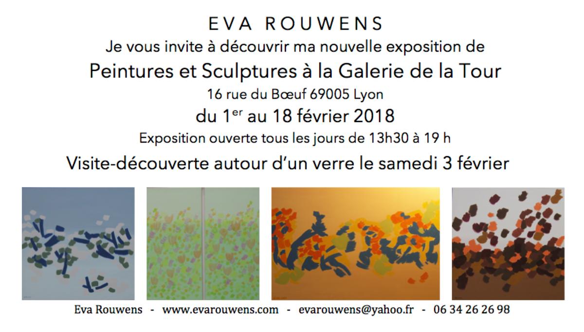 """eva-rouwens-invitation-galerie-de-la-tour-2018.png Exposition individuelle """"Galerie de la Tour"""" dans le vieux Lyon."""